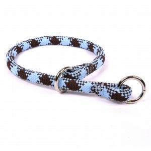 Yellow Dog Design Blue & Brown Braided Slip Collar & Leash